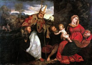 _VSD 1524-26 Paris_Bordone_-_Sacra_Famiglia_con_Sant'Ambrogio_e_un_offerente inconnu_-_Pinacoteca_Brera,_Milano