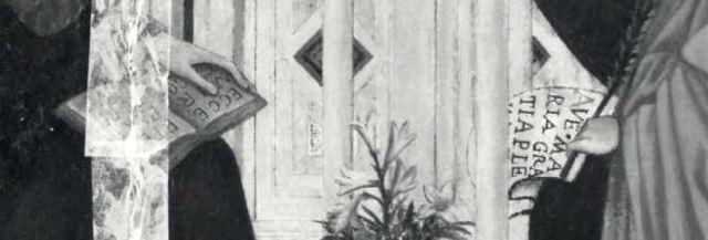 1346 Andrea_di_Cione_Orcagna,_Annonciation con donatore Bellozzo di Bartolo(,_Collection_Conte_Gerli,_Milan_detail