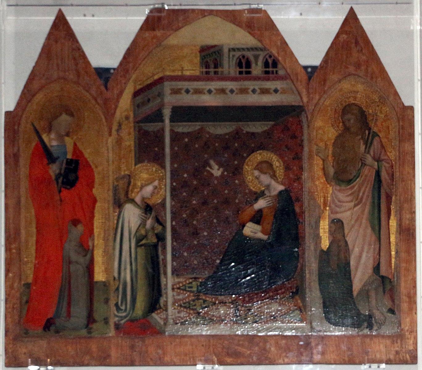 1350 ca Puccio_di_simone,_annunciazione_tra_i_ss._giuliano_e_g._battista,_con_committenti_Basilica of San Lorenzo