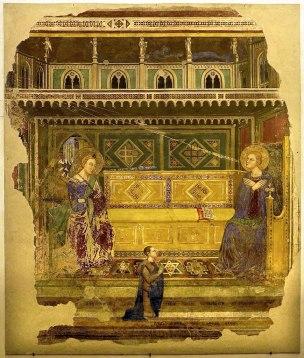 1369 Maestro_di_barberino,_annunciazione_col_committente_pietro_mazza Ognissanti Firenze