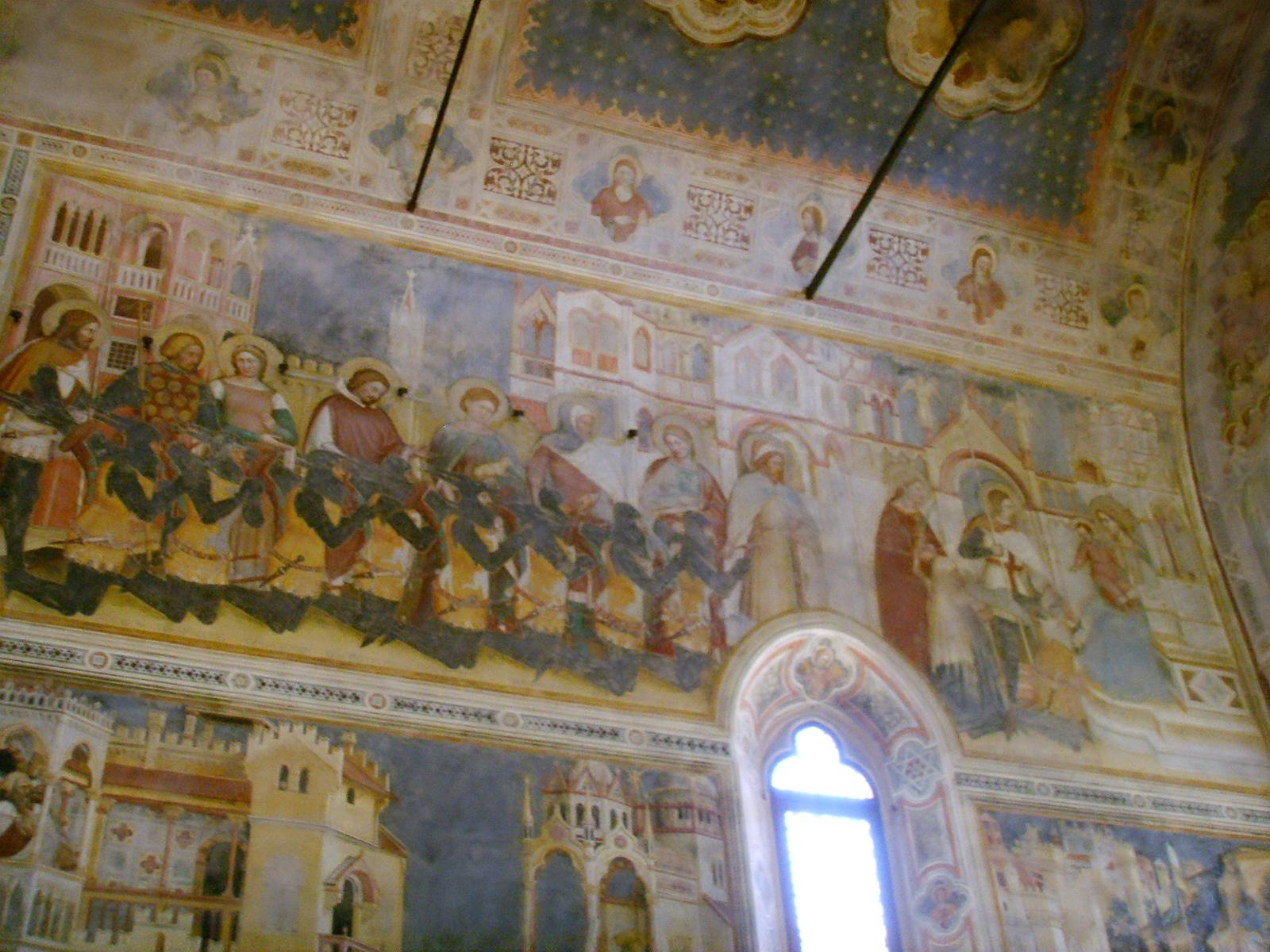 1377-79 Altichiero,_oratorio_di_san_giorgio,_parete_sinistra Raimondo Lupi, preceduto dai nipoti, dai fratelli e dai genitori, Padova
