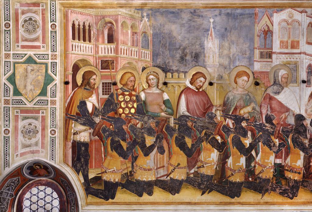 1377-79 Altichiero,_oratorio_di_san_giorgio,_parete_sinistra Raimondo Lupi, preceduto dai nipoti, dai fratelli e dai genitori, detail