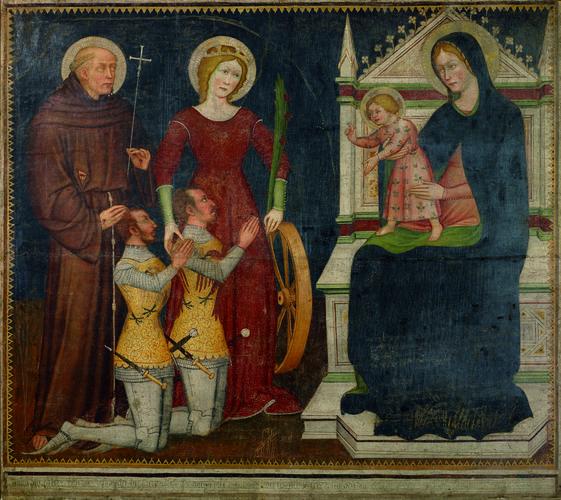 1382 Maestro di San Nicolo ai Celestini - Madonna con Bambino in trono con Santi e devoti -Accademia Carrara Bergame