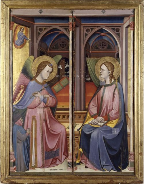 1390-1400 Jacopo_di_Paolo._L'Annunciazione,__Bologna,_Collezioni_Comunali_d'Arte donateur Jacopo di Matteo Bianchetti