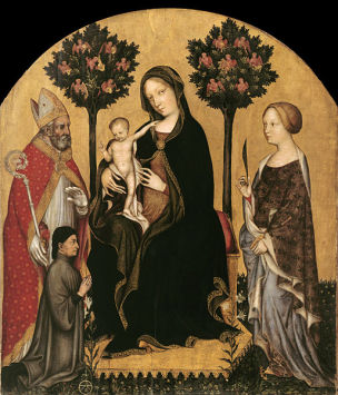 1395 Gentile_da_Fabriano_-_Mary_Enthroned_with_the_Child,_Saints_and_a_Donor_-_Gemaldegalerie Berlin COPIE