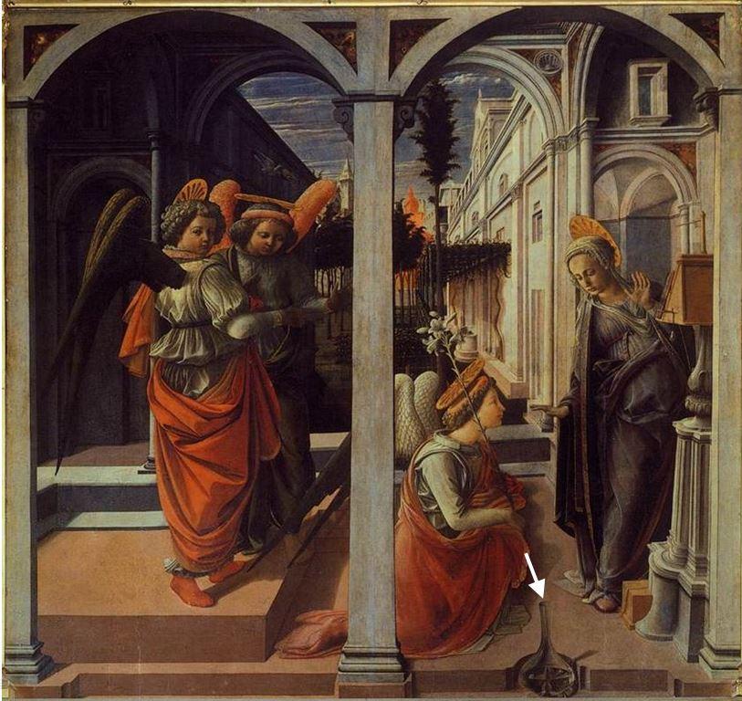 1445 Filippo_Lippi_-_Annunciation Martelli Basilique de San Lorenzo Florence schma