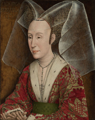 1450 ca Rogier_van_der_Weyden_(workshop_of)_-_Portrait_of_Isabella_of_Portugal Getty Museum Malibu