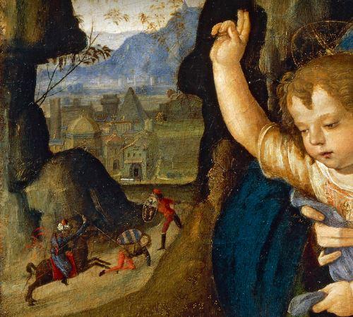 1470 - 1513 Pinturicchio, Madonna con Bambino e donatore Pinacoteca Ambrosiana, Milano detail