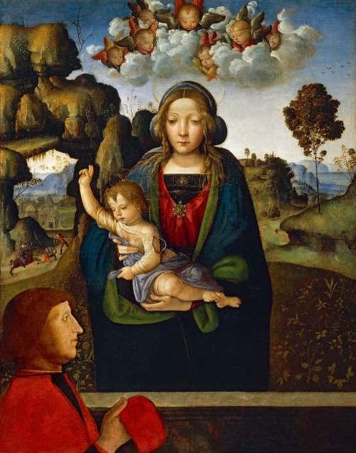 1470 - 1513 Pinturicchio, Madonna con Bambino e donatore Pinacoteca Ambrosiana, Milano