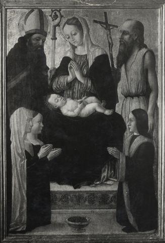 1475 - 1550 Anonimo lombardo Madonna con Bambino in trono tra santi e donatori loc inconnue