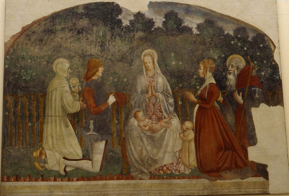 1475-99 Anonyme affresco St Bernardin de Sienne St Antoine et couple Museo della Scienza Milan sacristie de l'eglise Sta Maria Rossa a Garbagnate