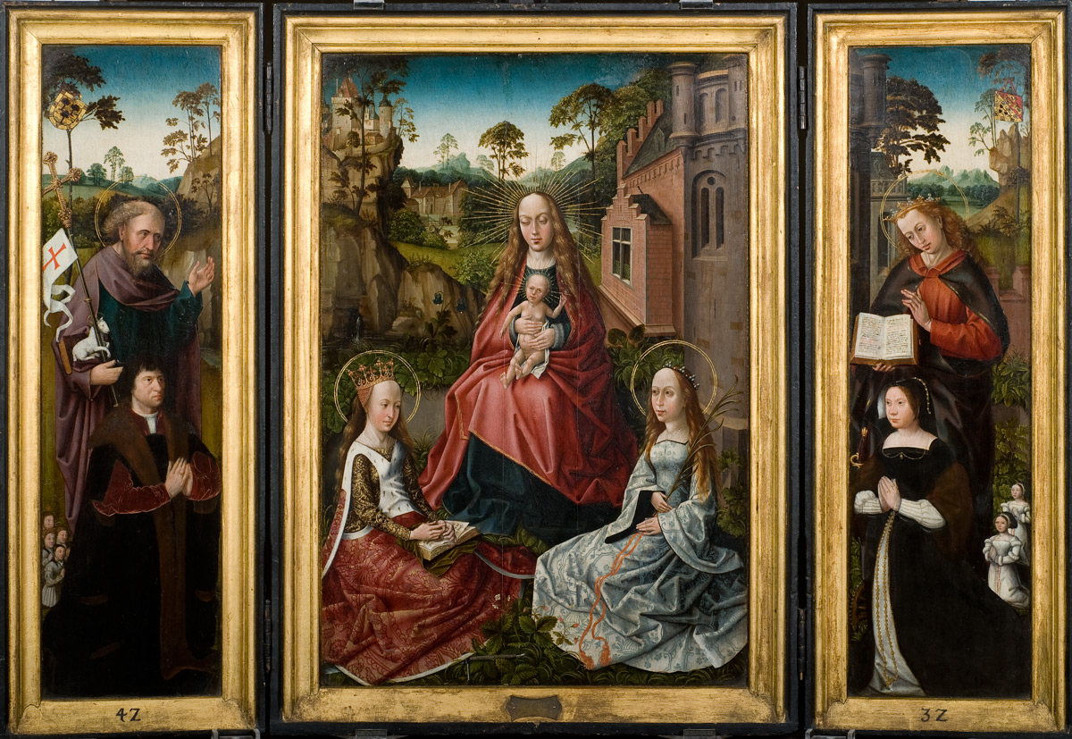 1476- 1500 Triptych_with_Madonna_and_Saints_Catherine_and_John_with_donors_Jan_Pardo_and_Catharina_van_Vlamynckpoorte Museo Arte Ponce