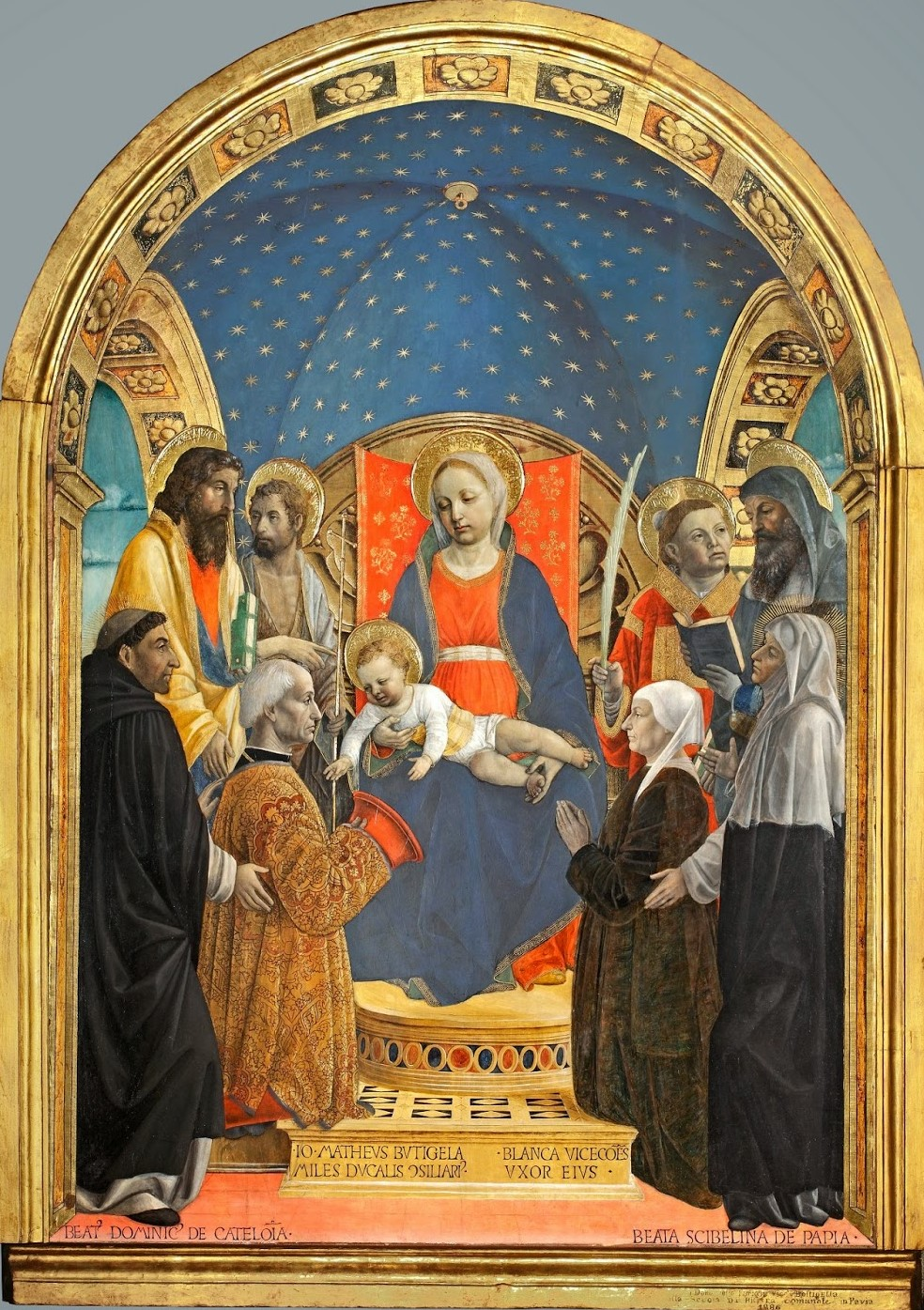 1480-84 Bottigella Altarpiece Vincenzo Foppa, Madonna con Matteo Bottigella e Bianca Visconti , Museo civico Pavia