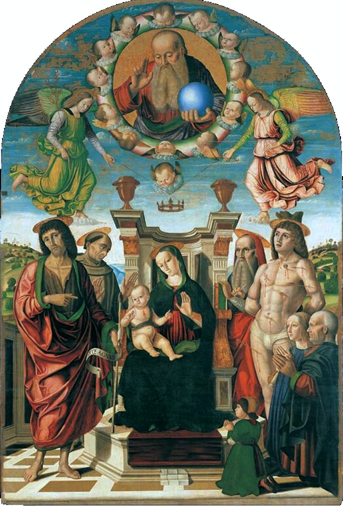 1489 Giovanni Santi Palla Buffi The Madonna and Child Enthroned with Saints Palazzo Ducale, Urbino