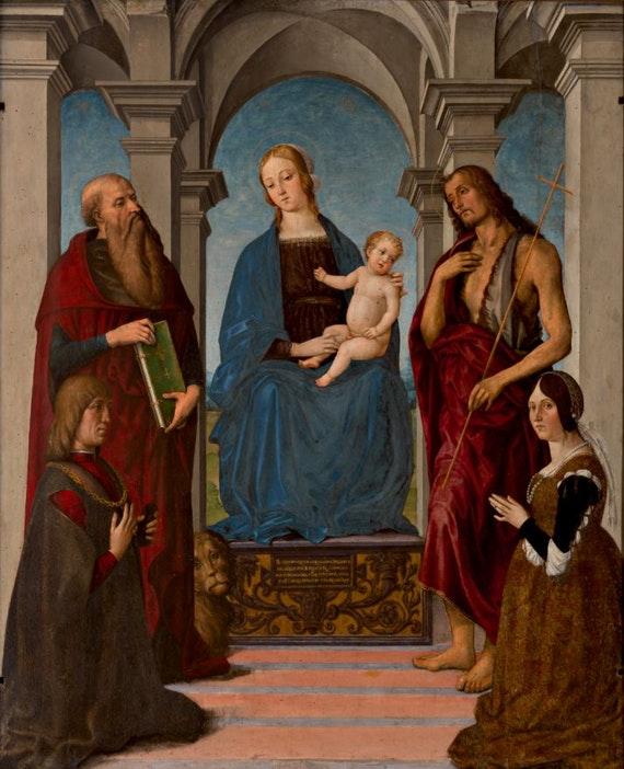 1490-1500 Meloni, Marco attr Pala Rangoni Nicolo Rangoni et sa femme Bianca Bentivoglio Galleria e Museo Estense, Modena