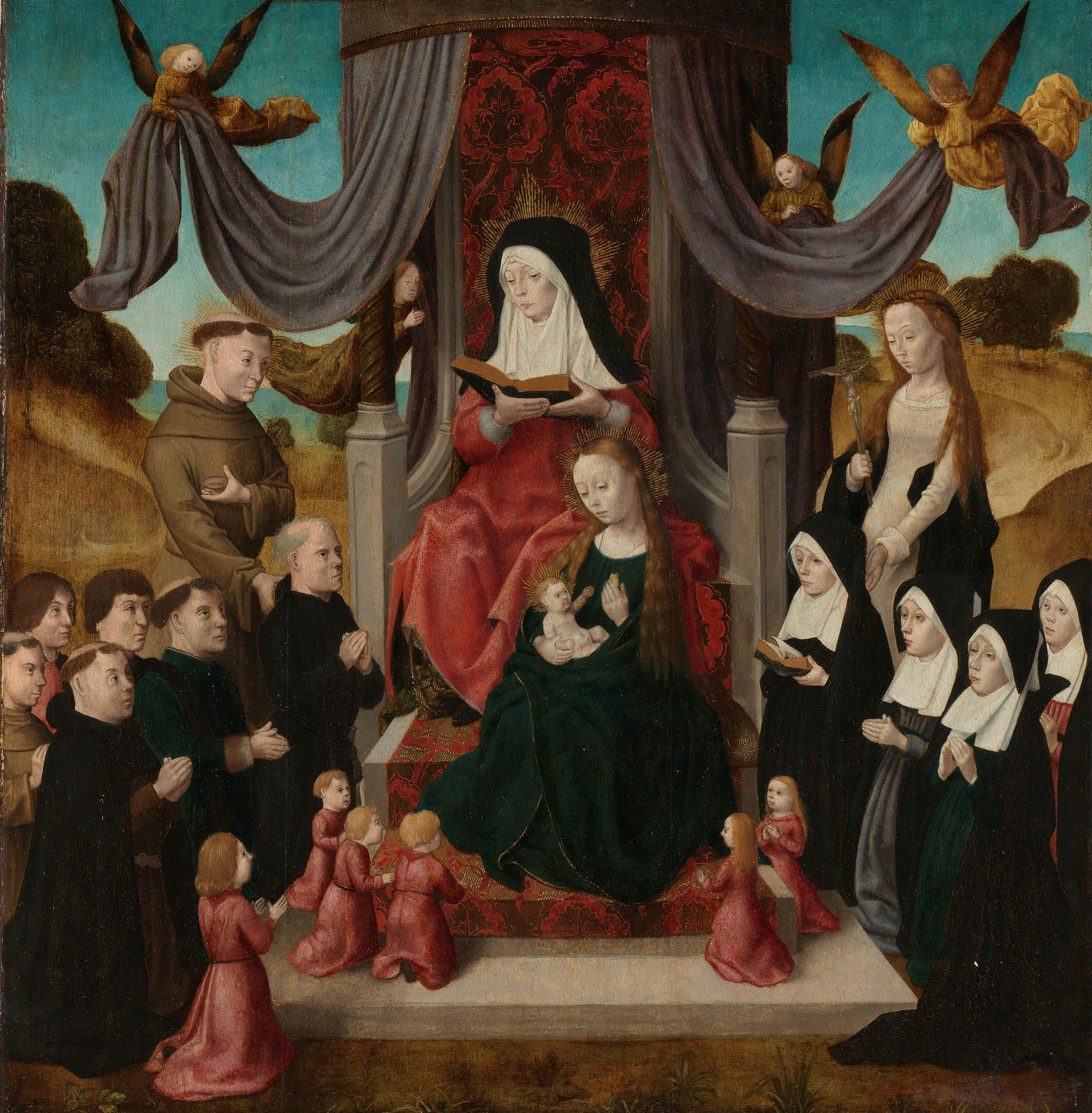 1490-1500 Virgin and Child with Saint Anne and Saints Francis and Lidwina, with Donors , Master of the Saint John Panels