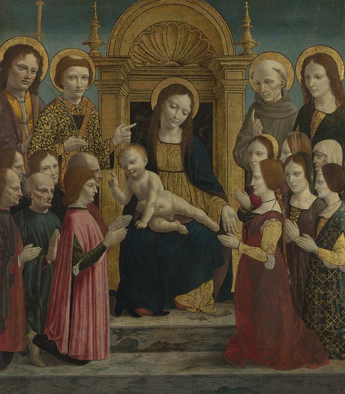 1490-95 Maestro della pala Sforzesca,Giacomo Maggiore, Stefano, Bernardino da Siena, Giovanni Evangelista e douze donateurs inconnus National Gallery