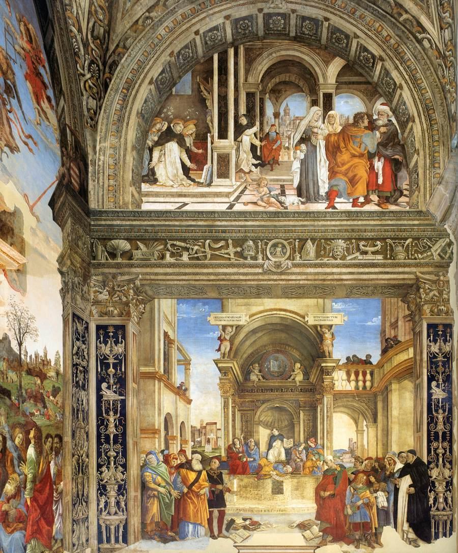 1493 filippino-lippi Carafa Chapel Santa Maria sopra Minerva Mur droit Triomphe de saint Thomas d'Aquin sur les Heretiques