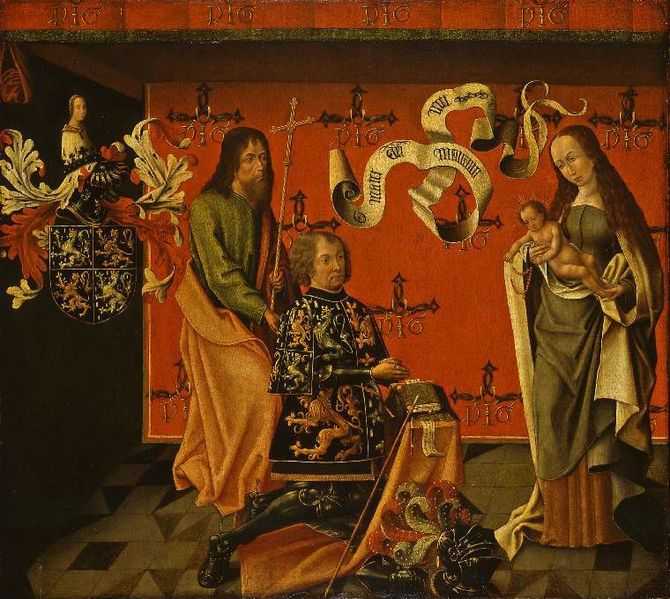1494-1505 Portrait_of_the_Chevalier_Philip_Hinckaert_and_St._Philip_the_Apostle,_before_the_Virgin_Fizwiliam Museum