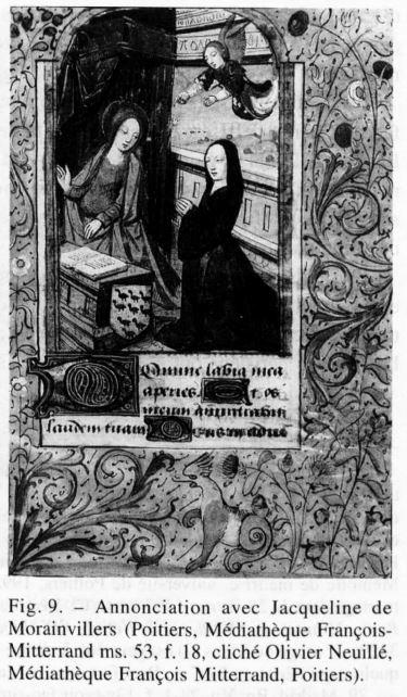 1498 Annonciation avec Jacqueline de Morainvillers BM Poitiers MS 53, f 18