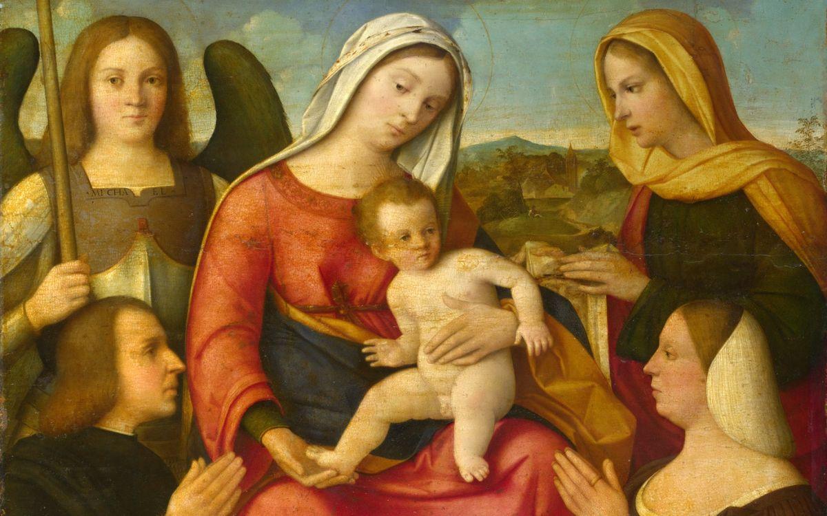 1500-25 Francesco_Bissolo_Virgen_con_san Michel Veronique_National_Gallery