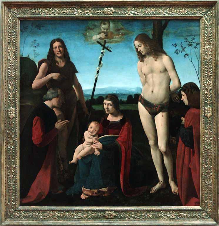1500 Pala Casio Giovanni Antonio Boltraffio Saints John The Baptist and Sebastian Between Two Donors Girolamo et Giacomo Casio Louvre Paris