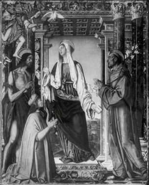 1509 Zaganelli Francesco, Annunciazione con san Giovanni Battista, sant Antonio da Padova e committente detruite en mai 1945