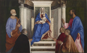 1510 Giovanni_Bellini_-_Madonna_and_Child_with_Saints_Peter_and_Mark_and_Three_Venetian_Procurators_-_Walters_37446