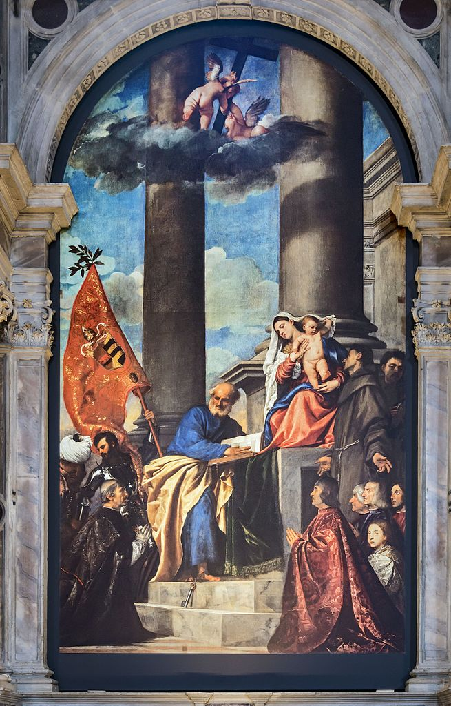 1519-1526 Titien Madona_di_Ca'Pesaro Frari_(Venice)_nave_left_-