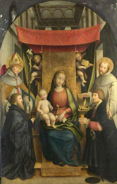 Giovenone, Gerolamo, 1486/1487-1555; The Virgin and Child with Saints and Donors