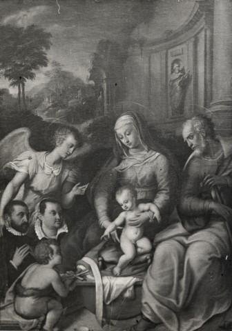 1525 - 1575 Anonyme piemontais Sacra Famiglia con san Giovannino, un angelo e donatori loc inconnue