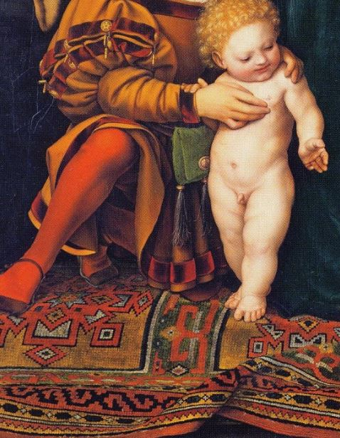 1525-26 and 1528 Darmstadt_Madonna,_by_Hans_Holbein_the_Youngercoll priv detail