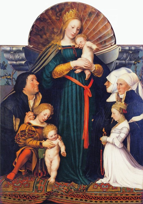 1525-26 and 1528 Darmstadt_Madonna,_by_Hans_Holbein_the_Youngercoll priv