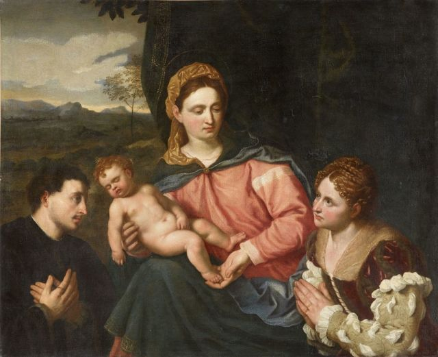 1525 ca Paris_Bordone_-_Madonna_con_Bambino_e_due_donatori Los Angeles County Museum of Art