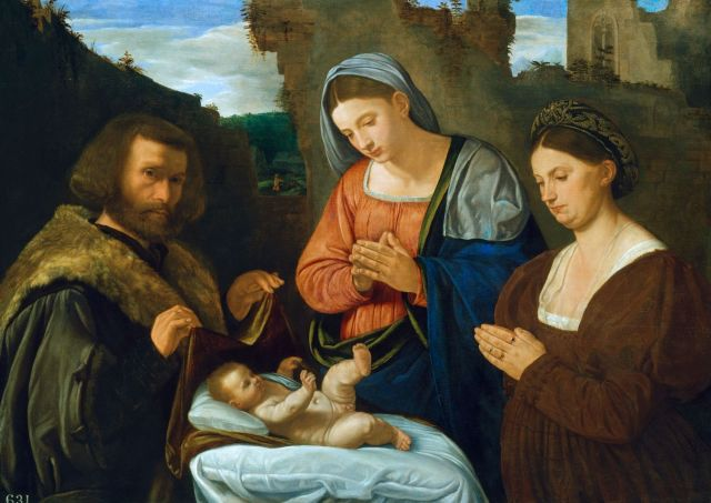 1527 Girolamo-Savoldo The-Virgin-Adoring-The-Child-With-Two-Donors Royal Collection Trust Hampton Court Palace
