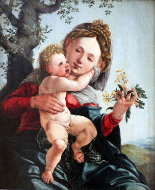 1528 Jan_van_Scorel_-_Madonna_of_the_Daffodils Berlin Gemaldegalerie