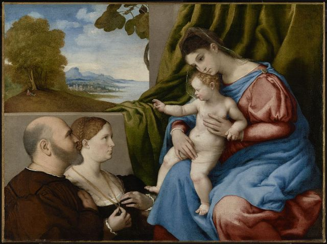 1533-35 Lotto_-_Madonna_and_Child_with_Two_Donors_J._Paul_Getty_Museum