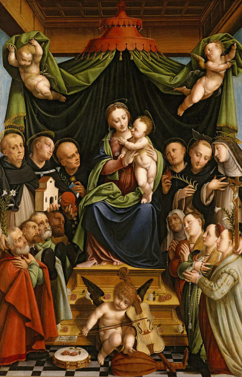 1552 Lanino, Bernardino Madonna and Child Enthroned with Saints and Donors, North Carolina Museum of Art, Raleigh, USA