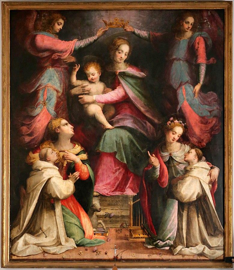 1560 Michele di Ridolfo Madonna incornata dagli angeli tra le sante Agnese e Cecilia e i novizi domenicani, Firenze, Santa Maria Novella