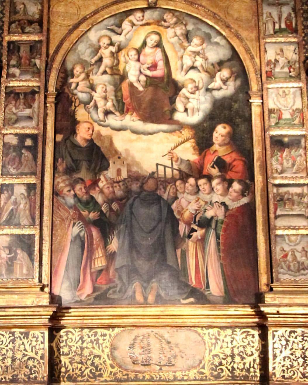 1579 Lanino Madonna del Rosario con sainti e devoti Basilica di San Lorenzo Mortara