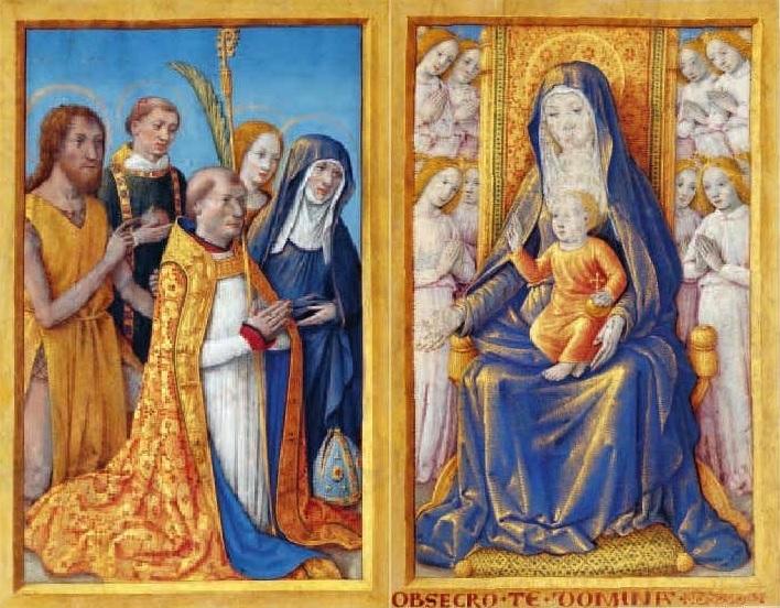 L'eveque Charles de Martigny en priere devant la Vierge Jean Bourdichon, avant 1494,. M. 2 A et B, Fondation CalousteGulbenkian Lisbonne,