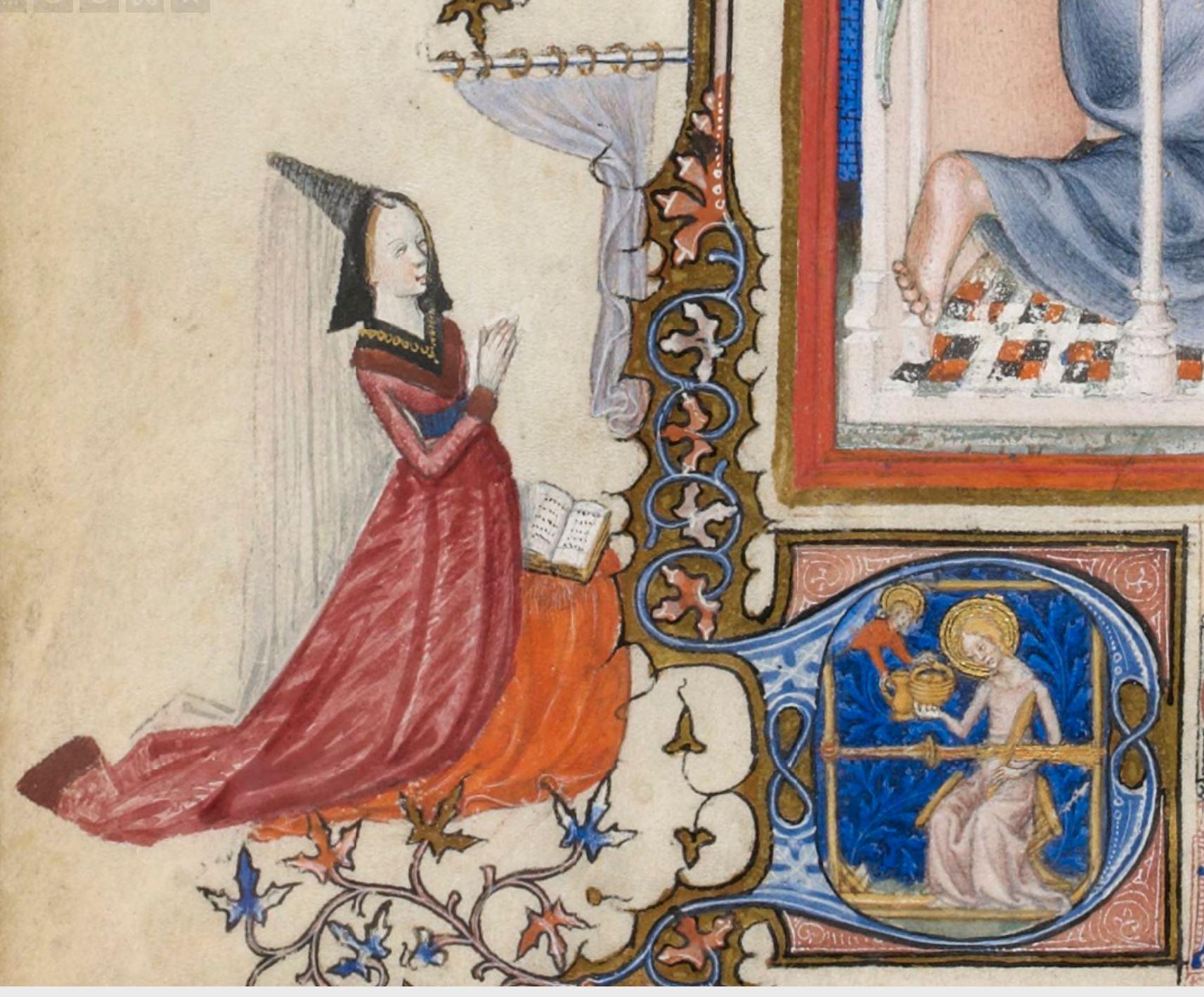 Master of the Parement de Narbonne, Annunciation, p. 2, Tres Belles Heures de Notre-Dame, c. 1390-1410. Paris, Bibliotheque Nationale de France, n.a. lat. 3093 detail