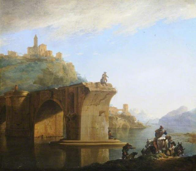 Asselyn, Jan, after 1610-1652; Landscape with a Bridge in the Italian Countryside