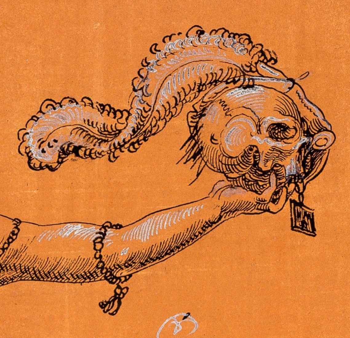 Niklaus Manuel dit Deutsch, 1513 Une sorciere emportant dans les airs le crane de Manuel Musee des BA, Bale detail crane