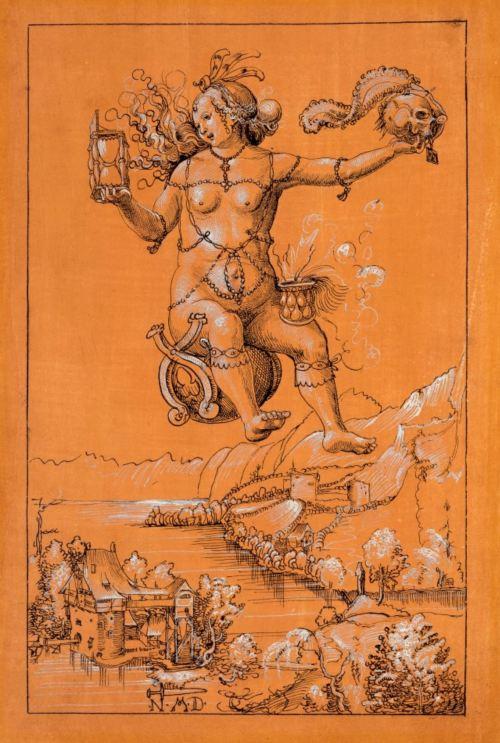 Niklaus Manuel dit Deutsch, 1513 Une sorciere emportant dans les airs le crane de Manuel Musee des BA, Bale