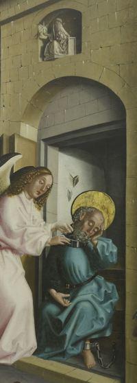 1444 Konrad Witz Delivrance de Saint Pierre Musee des BA Geneve detail Balaam et Pierre