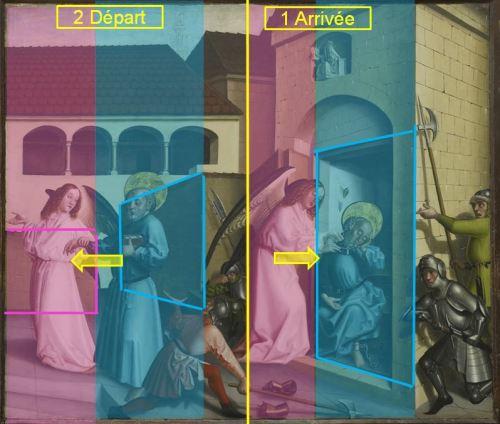 1444 Konrad Witz Delivrance de Saint Pierre Musee des BA Geneve schema