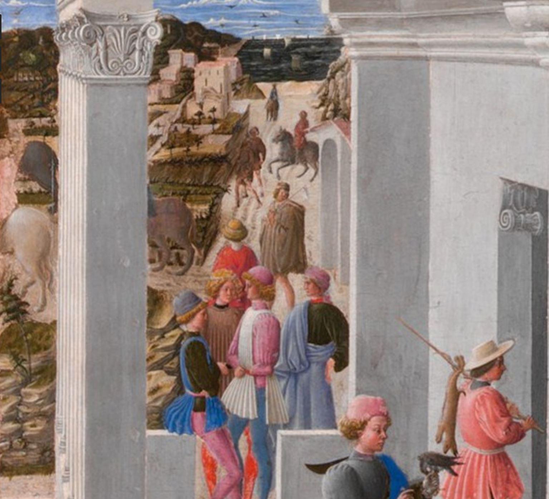 Fra Carnevale 1467 La naissance de la Vierge MET appentis detail