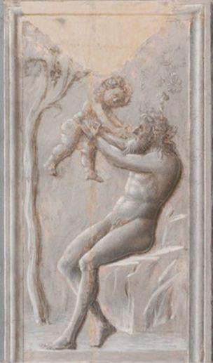 Fra Carnevale 1467 La naissance de la Vierge MET bas relief bacchus et silene