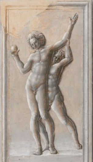 Fra Carnevale 1467 La naissance de la Vierge MET bas relief bacchus ivre